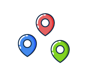 Illustration of three pins representing live GPS.
