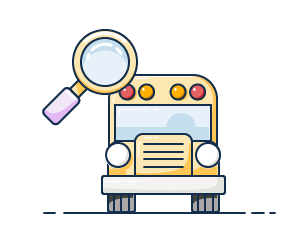 Illustration of a school bus with a magnifying glass.