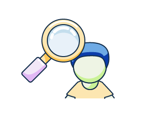 Illustration of a student with a magnifying glass.