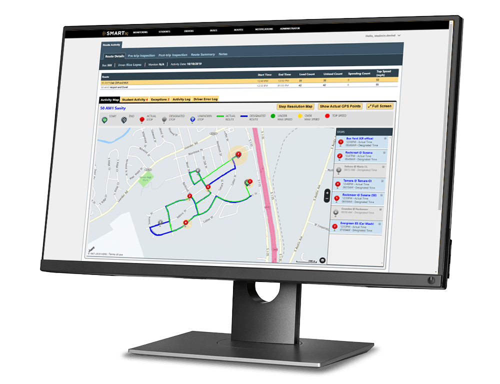 Image of the SMART tag Admin Portal showing a school bus's route they drove with student activity and a map.