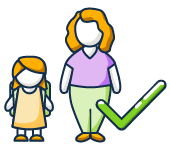 Illustration of a student standing next to her mother.
