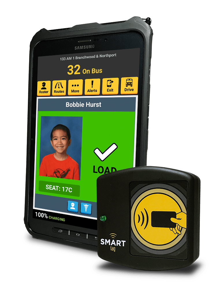 Image of a Samsung Tab Active 2 with a student who was approved to board a school bus.